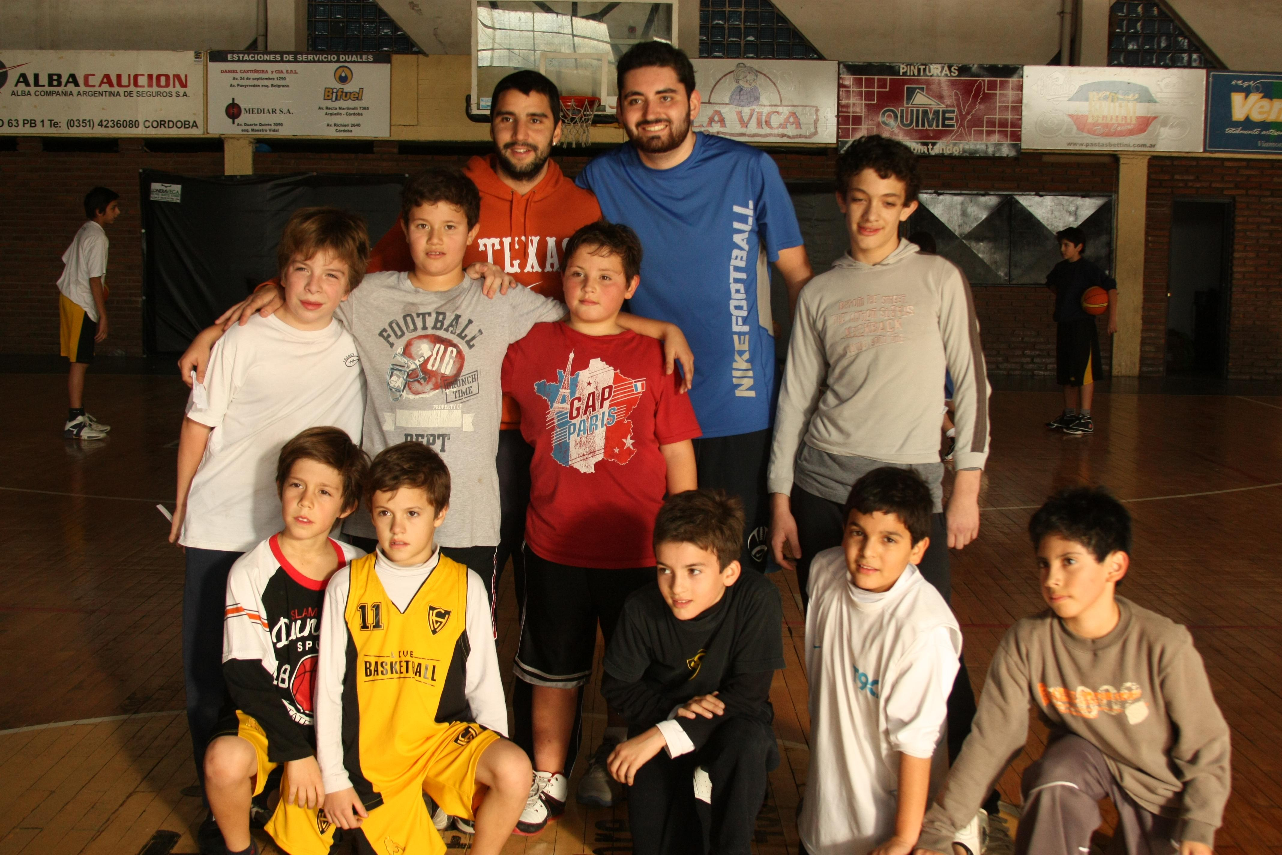 Sports instructors pose with their team as part of their volunteer sports coaching in Argentina